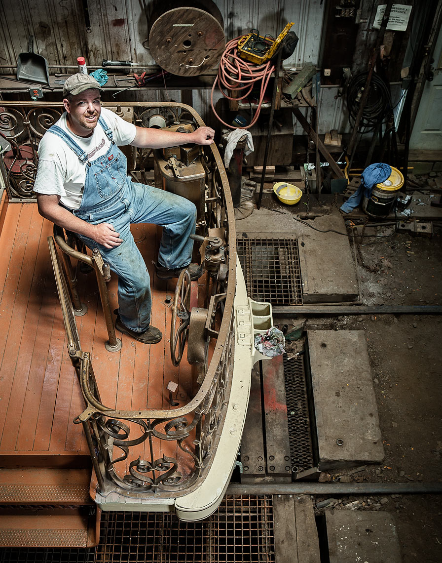 Portraits of trolley restoration workers at the Seashore Trolley Museum in Kennebunkport Maine for Canon USA